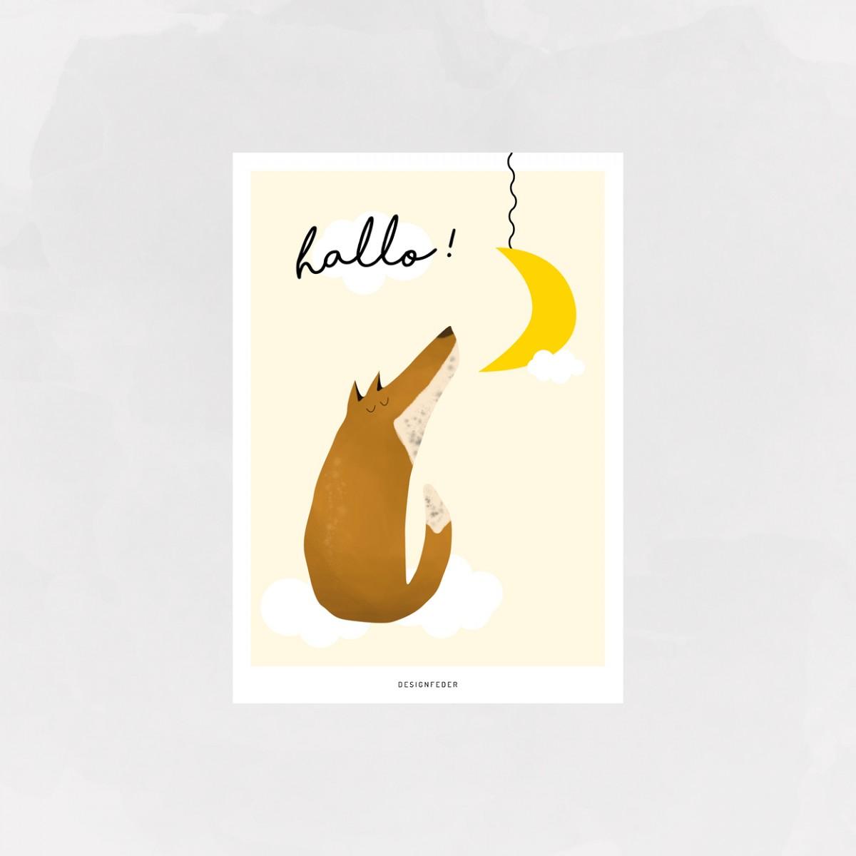 designfeder | Postkarte hallo kleiner fuchs