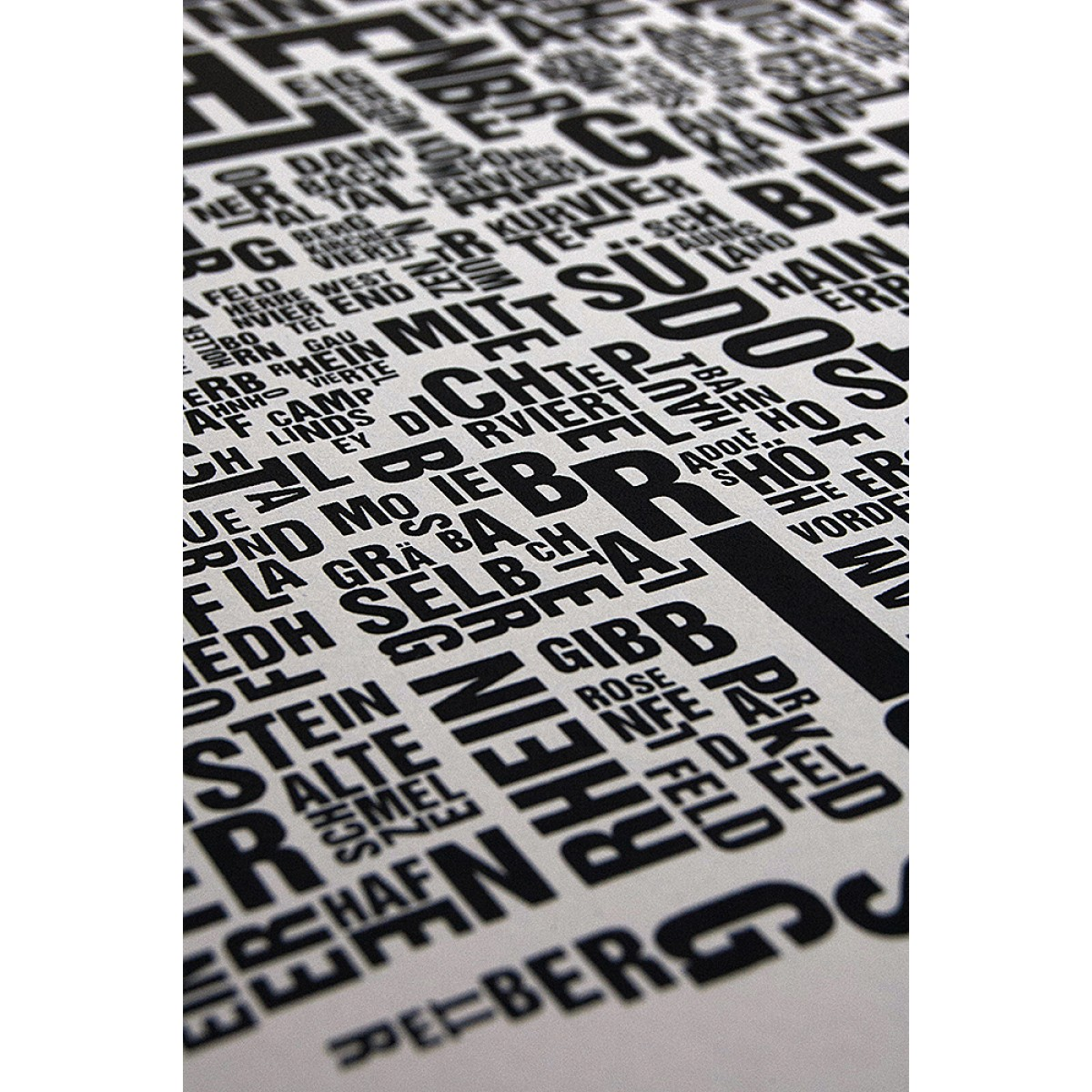 Buchstabenort Wiesbaden Stadtteile-Poster Typografie