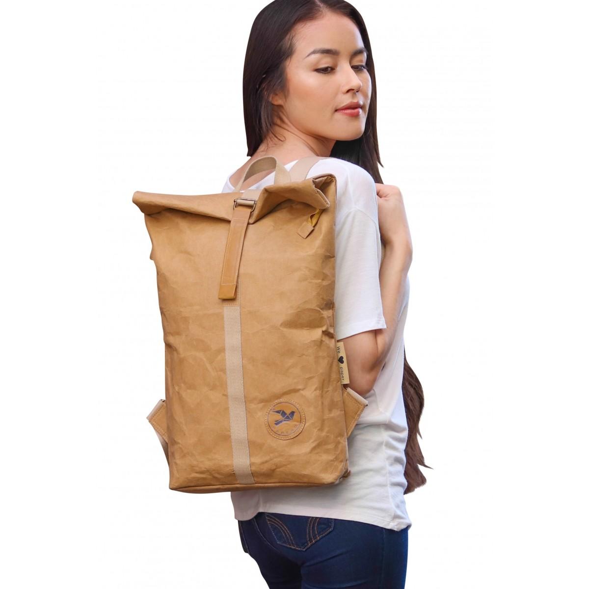 PAPERO ® Rucksack - Cougar - aus Kraft Papier, robust, wasserfest,   Unisex, ultraminimalistisch, veganes Leder, Urban Style, rolltop, nachhaltig, recycelbar mit FSC Siegel