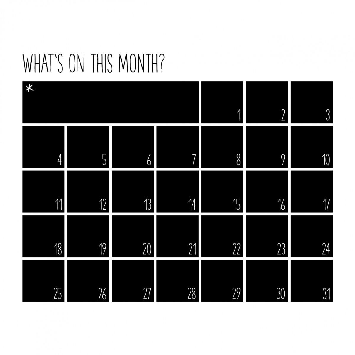 melike Wandkalender What's on this month (Tafelfolie schwarz, matt)