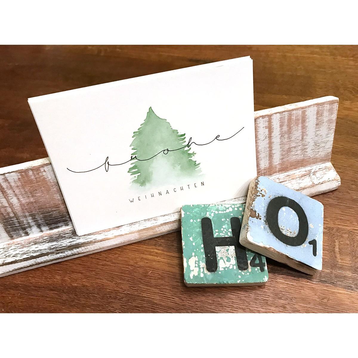 5 x Weihnachtskarten mit Wasserfarbe und Handlettering