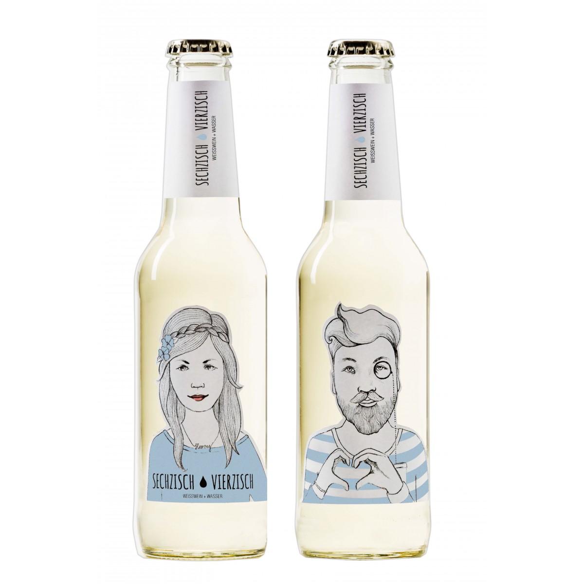 Sechzisch Vierzisch - Weißwein + Wasser (15er-Kiste)