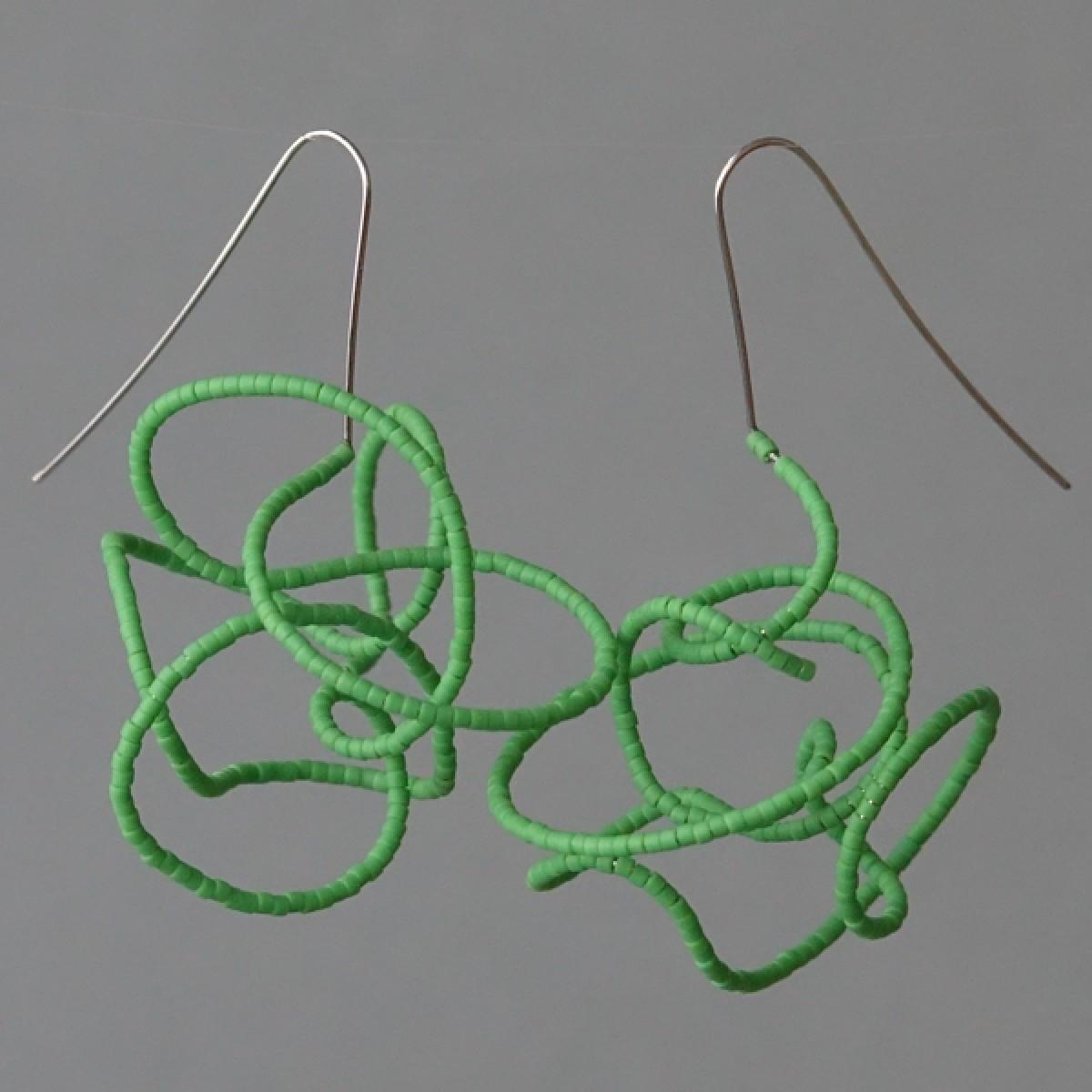 Gewirr grün - margaritifera - Ohrhänger - Stahl und Glas