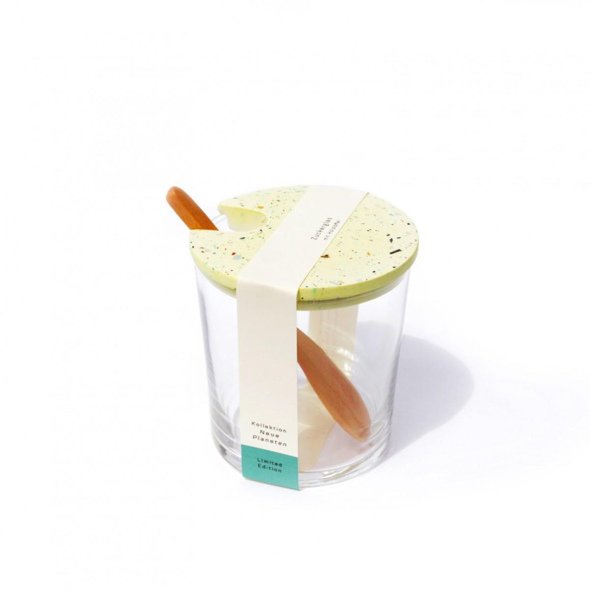 VLO design / Terrazzo Großes Glas mit Holzlöffel & gelbem Deckel