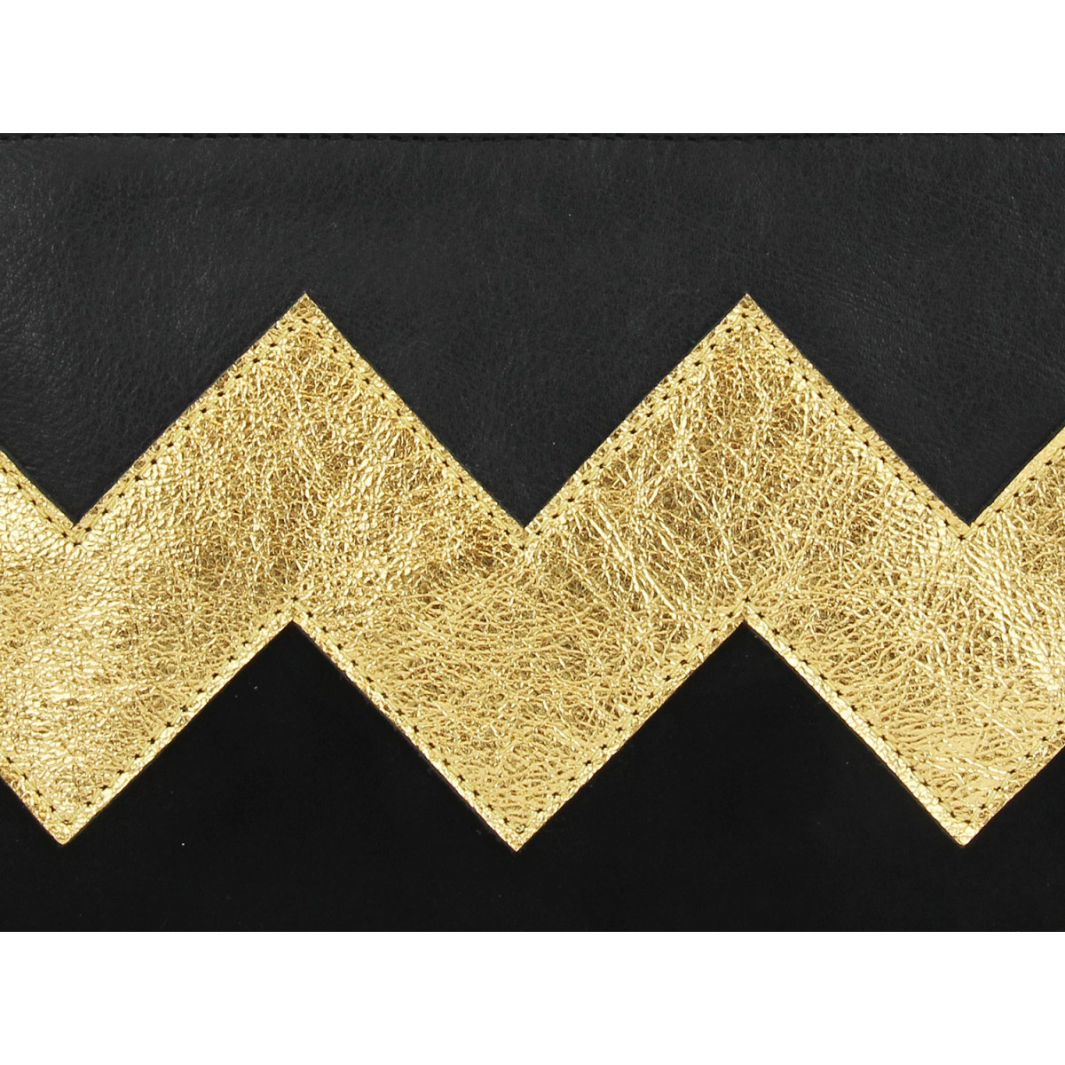 lille mus Zick-Zack-Clutch ZILIA - Schwarz/Gold aus Leder mit Umhängekette