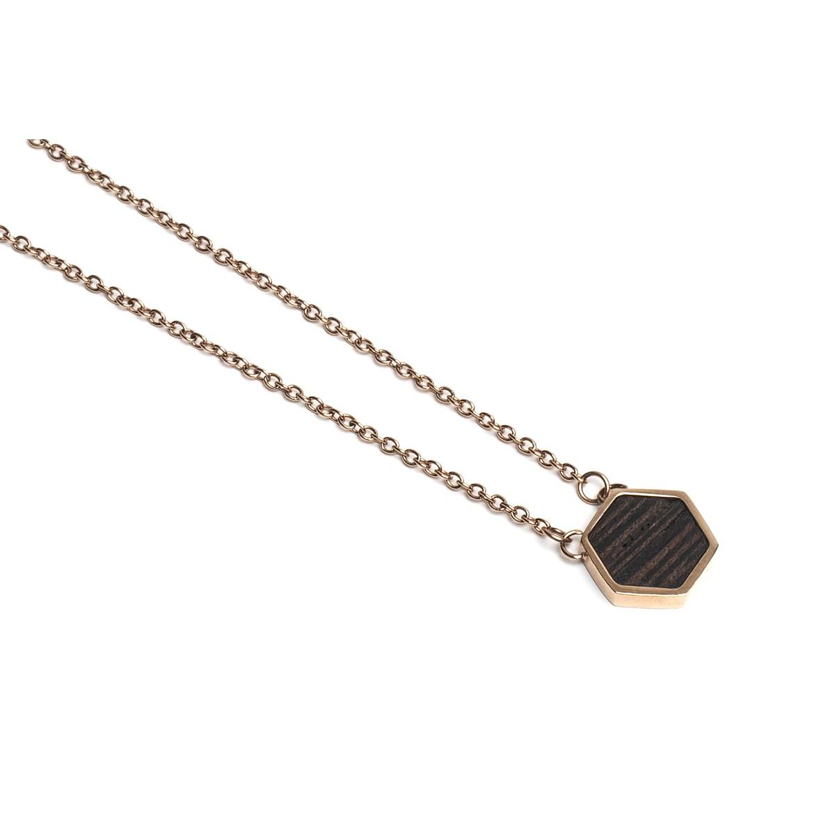 BeWooden Halskette mit Anhänger mit Holzdetail - Rose Necklace Hexagon