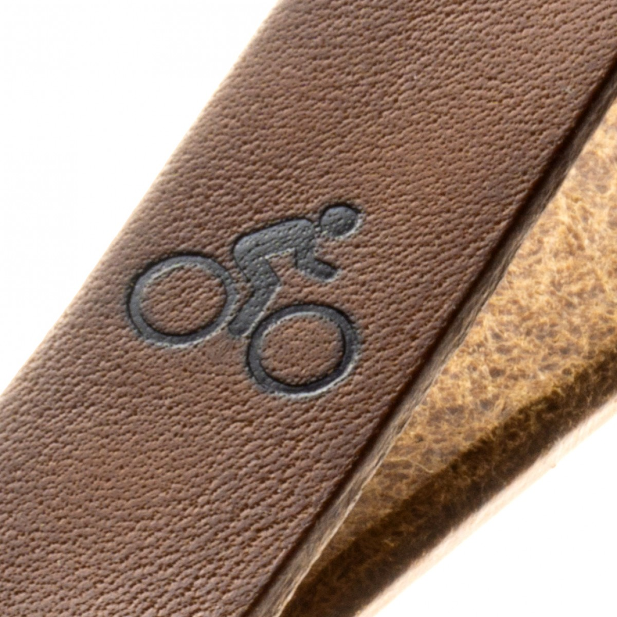 Schlüsselanhänger Fahrradschlüssel pflanzlich gegerbtes Leder Handmade in Germany mit Gravur/Prägung (Fahrrad - Symbol)