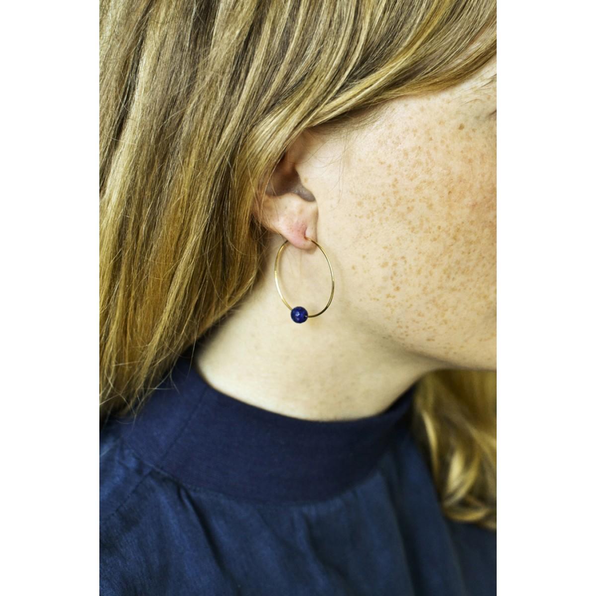 Gudbling // Zebra Jaspis Perlen mit 18k vergoldeten Ohrreifen