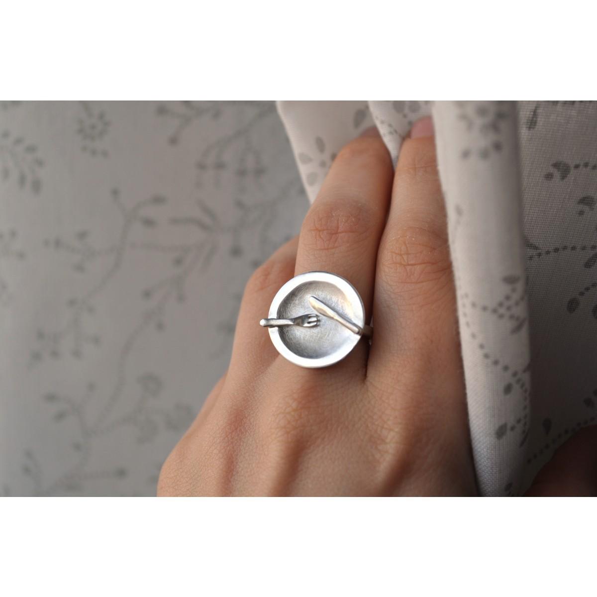 "DOPPELLUDWIG  TAFELSILBER Ring ""Teller"" aus Silber"