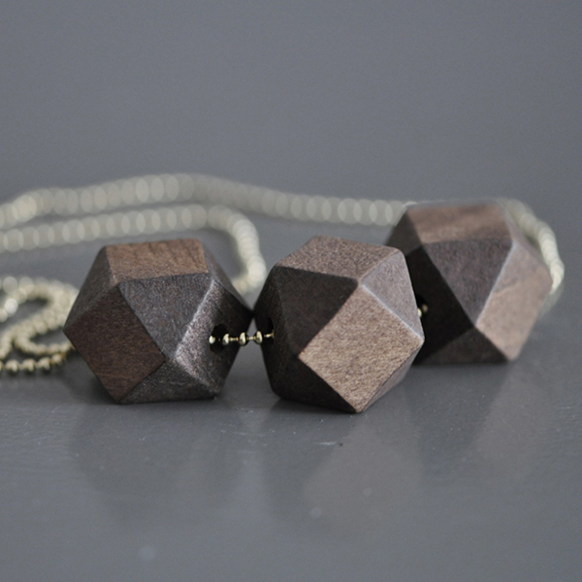 "nahili KETTE ""geometric wood"" geometrische, minimale Holzkette (gold, silber oder bronze)"