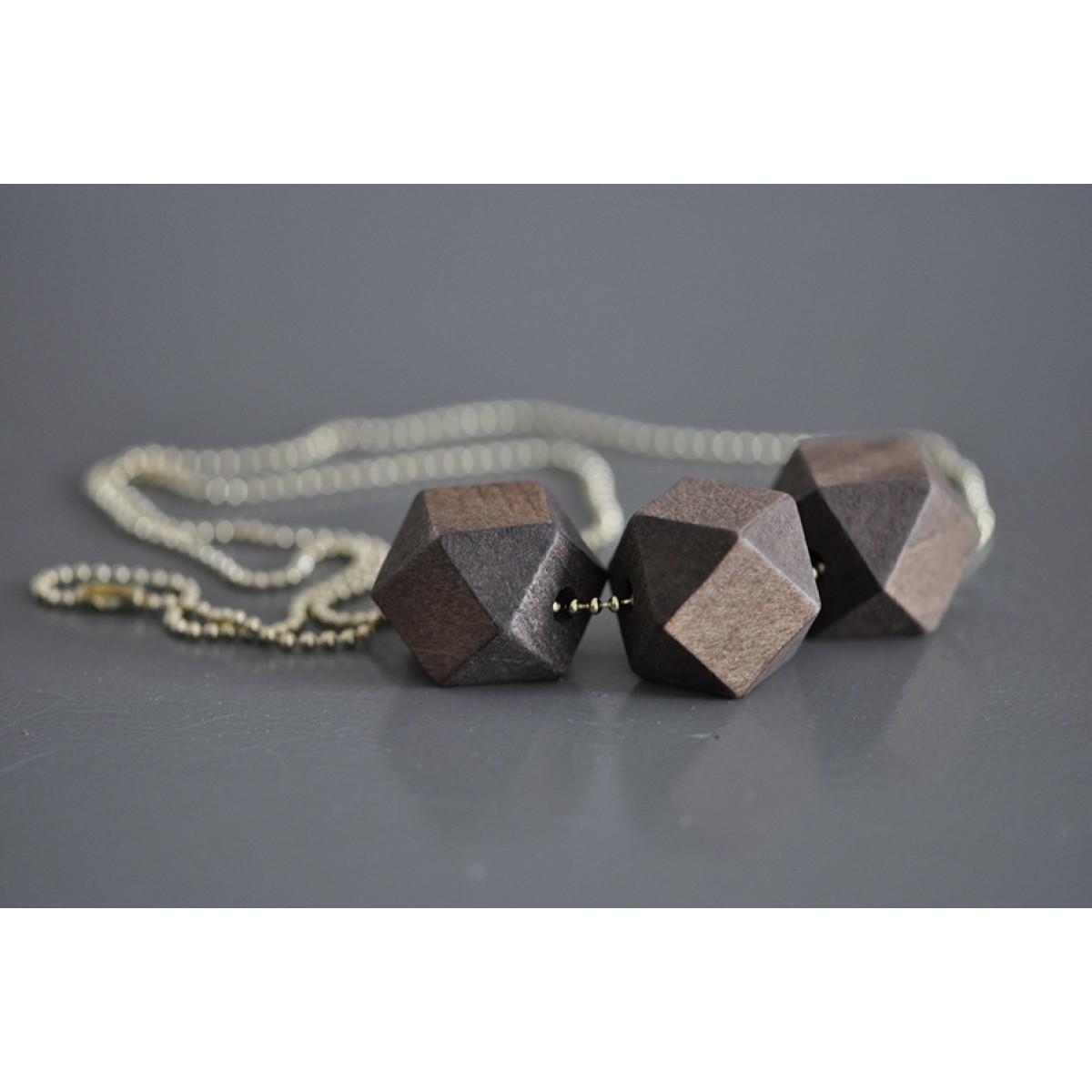 nahili geometric wood *Gold* geometrische, minimale Holzkette