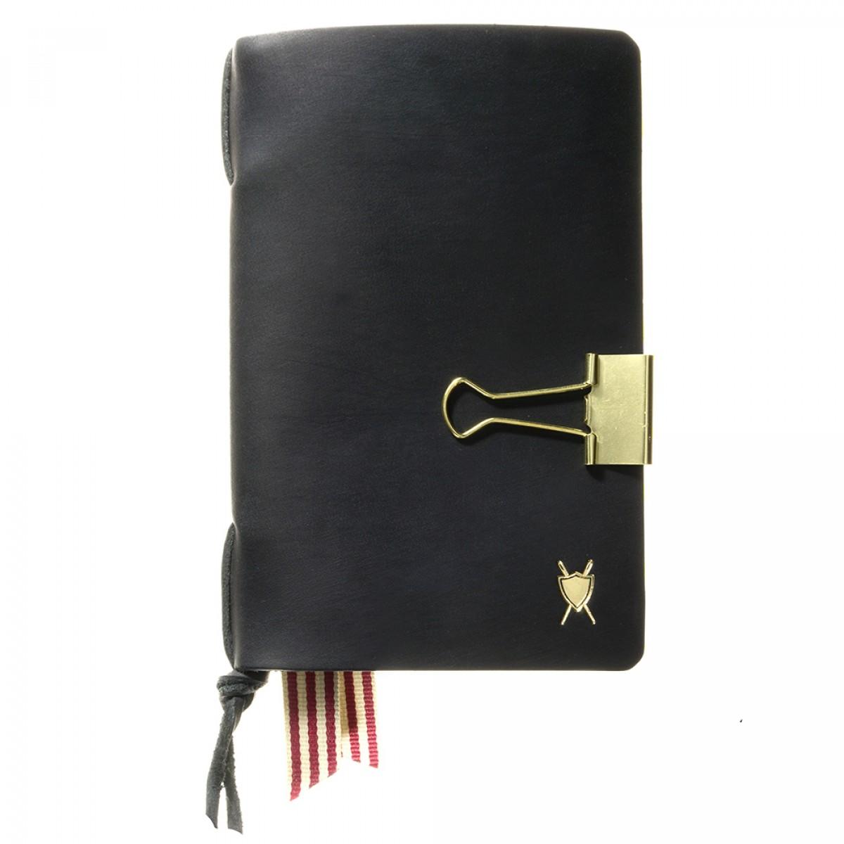 LIEBHARDT - Tagebuch / Notizbuch Wechsel-Cover aus Leder (DIN A6, schwarz, geeignet für Moleskine Hefte)