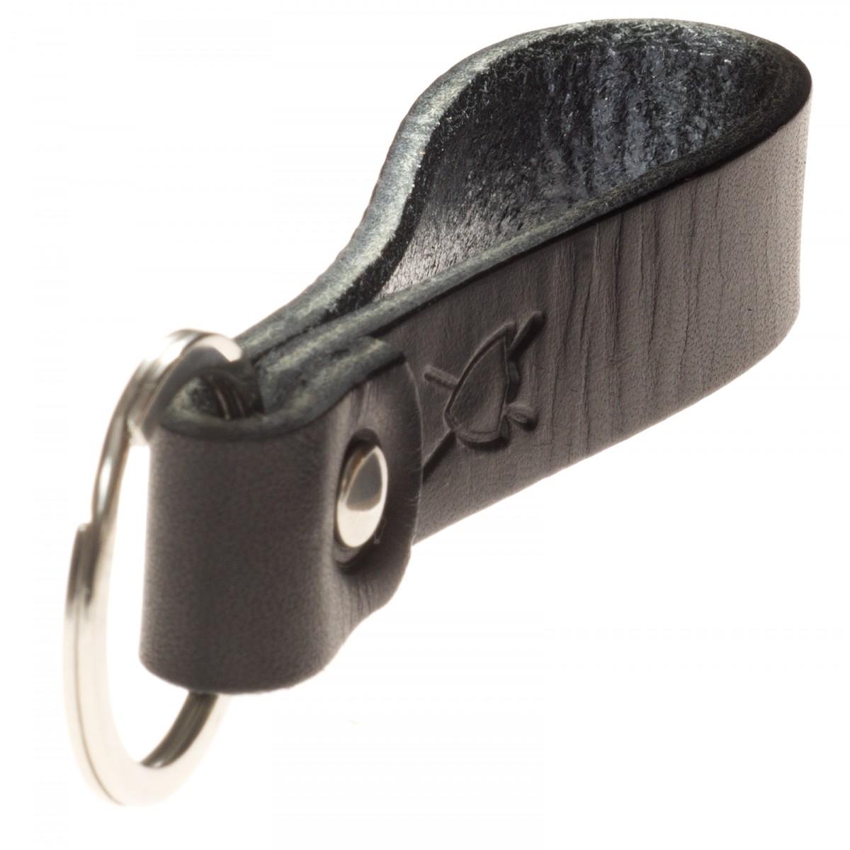 LIEBHARDT Leder Schlüsselanhänger aus pflanzlich gegerbtem Leder genietet (schwarz)