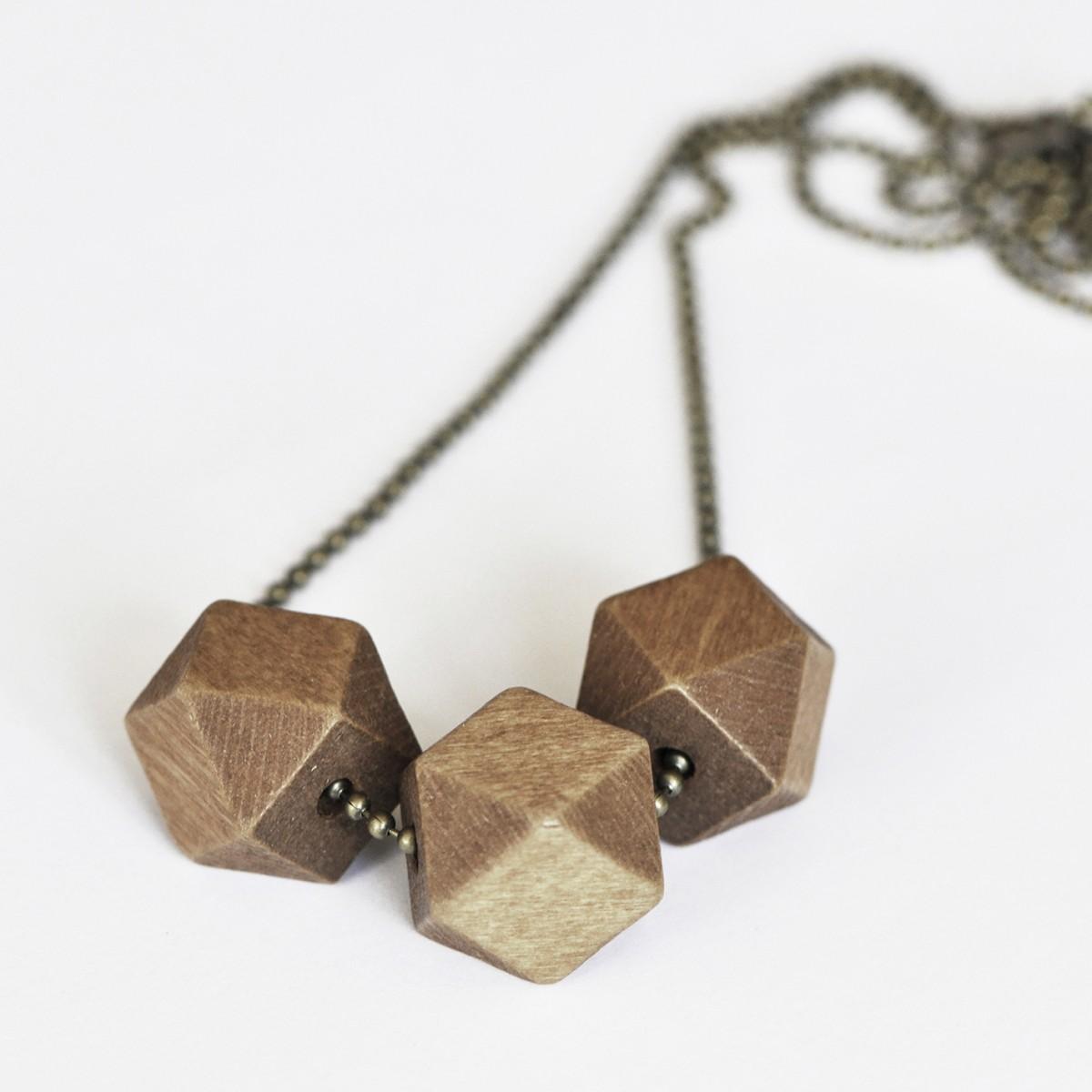 nahili KETTE geometric wood, geometrische Anhänger aus Holz an Bronze-, Gold- oder Silber - Kette