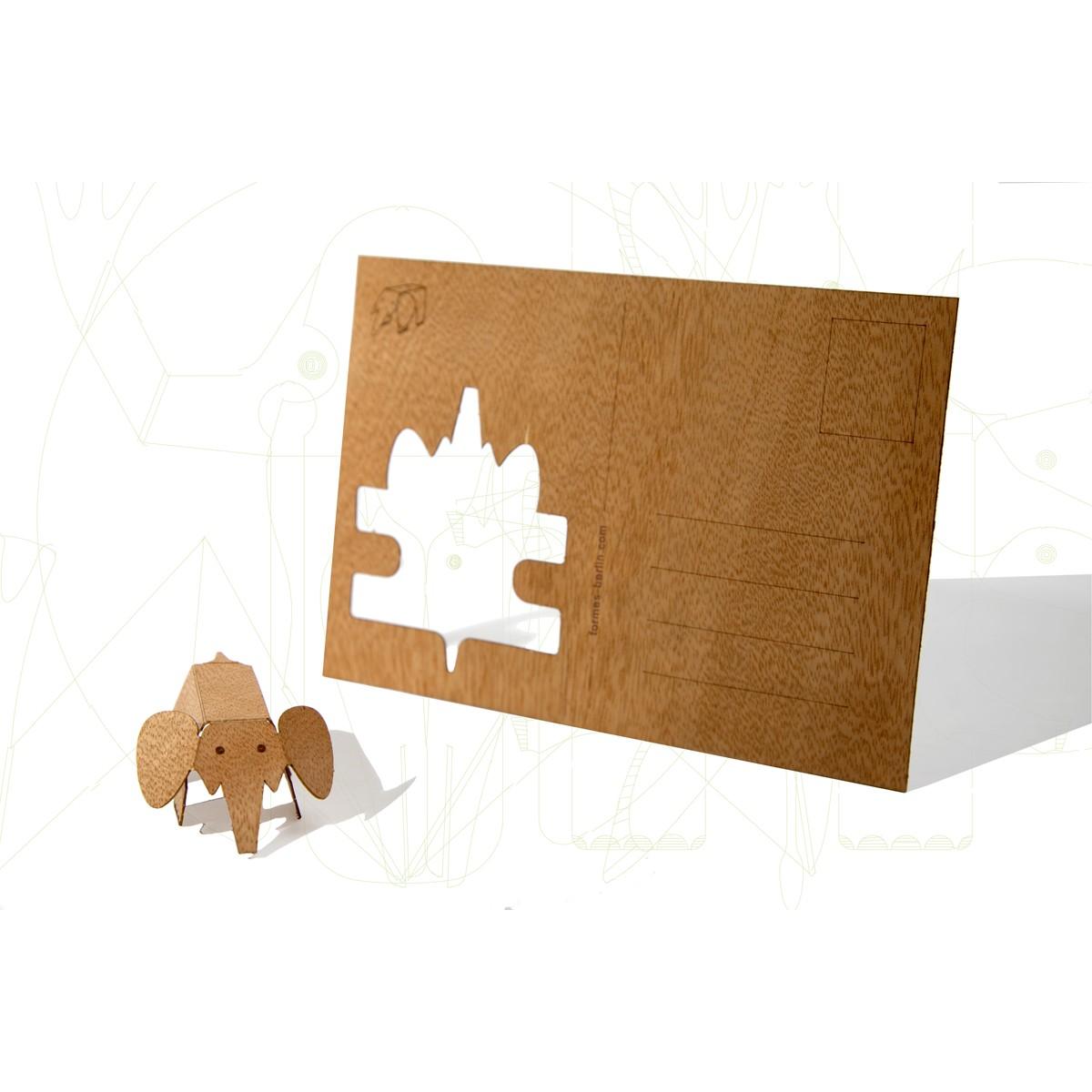 Postkarten aus Holz - 6 Elefantenkarten