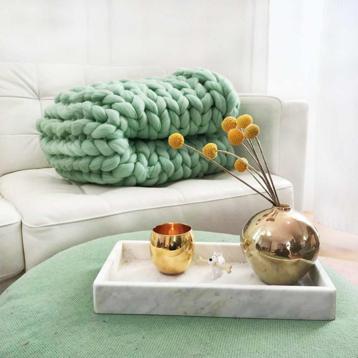 adorist. – Wolldecke Cosima Chunky Knit, mint