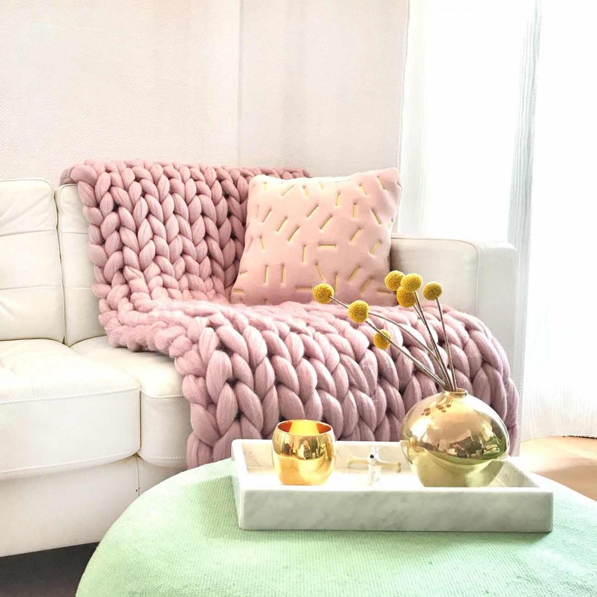 adorist. – Wolldecke Cosima Chunky Knit, pale pink