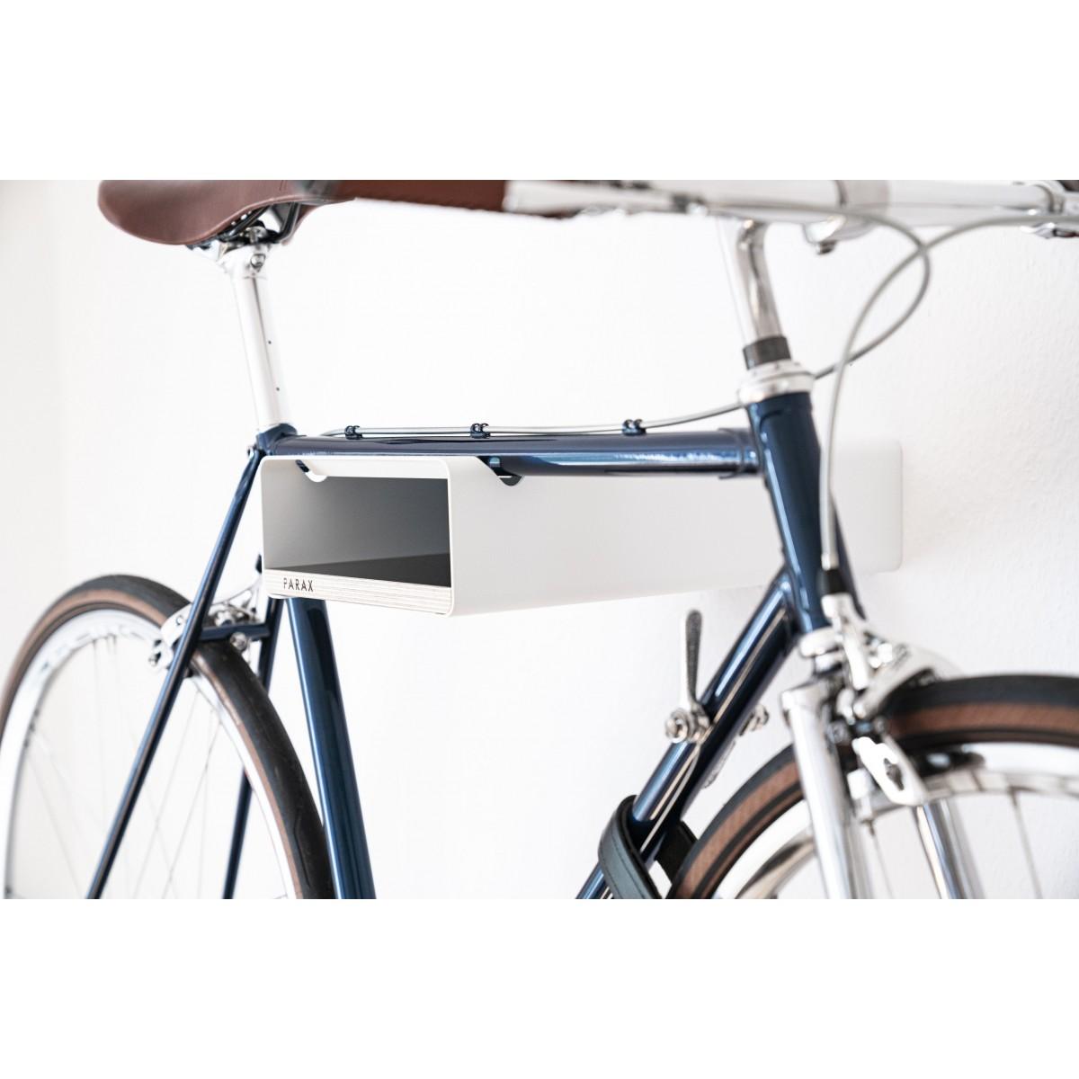 Design Fahrrad-Wandhalterung   PARAX® S-RACK   Weiß mit Holz Schwarz   für Rennrad Hardtail & Cityrad