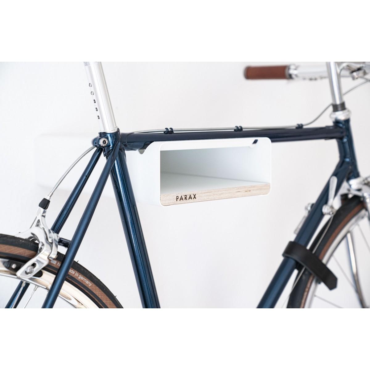 Design Fahrrad-Wandhalterung   PARAX® S-RACK   Weiß mit Holz Weiß   für Rennrad, Hardtail & Cityrad