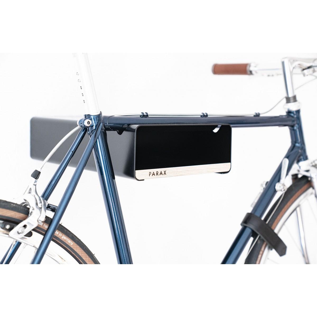 Design Fahrrad-Wandhalterung   PARAX® S-RACK   Schwarz mit Holz Schwarz   für Rennrad Hardtail & Cityrad