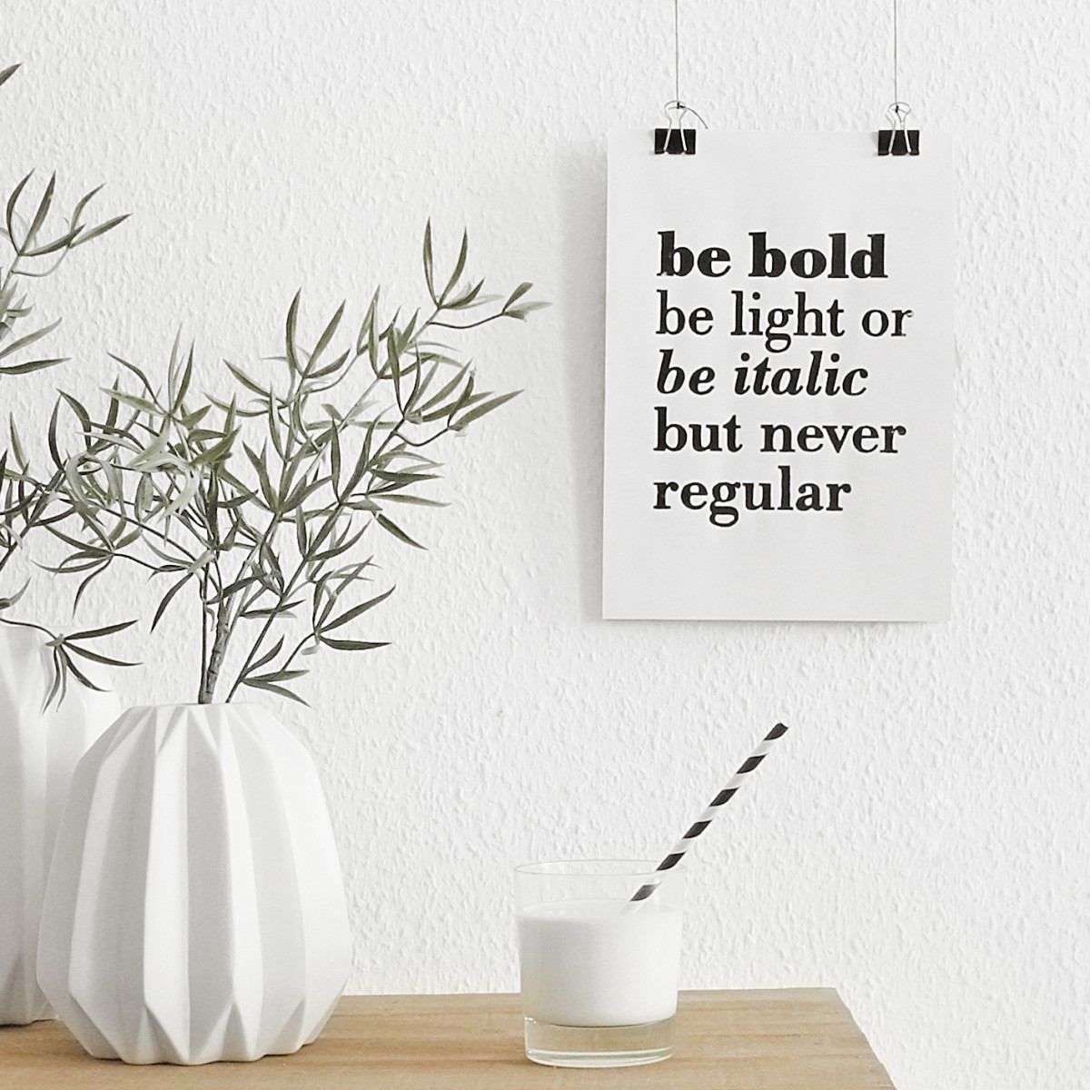 The True Type Linoldruck »be bold, be light or be italic but never regular«, ungerahmt (DIN A4), Poster, Print, Typografie, Design