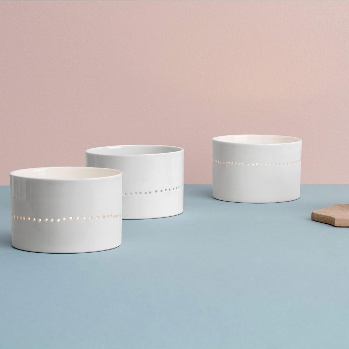 feinesweißes – Porzellan WINDLICHT mit perforierter Linie
