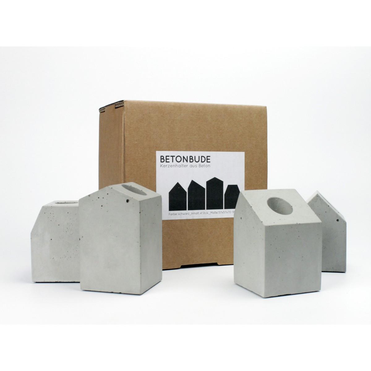 lalupo betonbude 4er set kerzenhalter aus beton. Black Bedroom Furniture Sets. Home Design Ideas