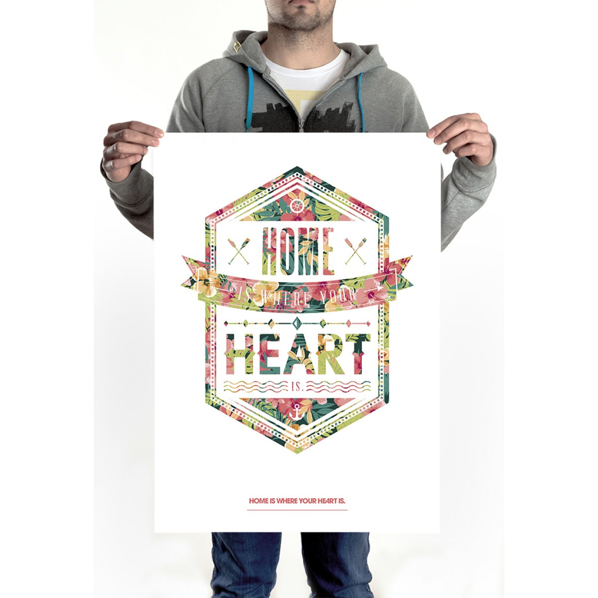 HOME IS WHERE YOUR HEART IS. - HERE AND NOW ALOHA POSTER (50 x 70 cm)