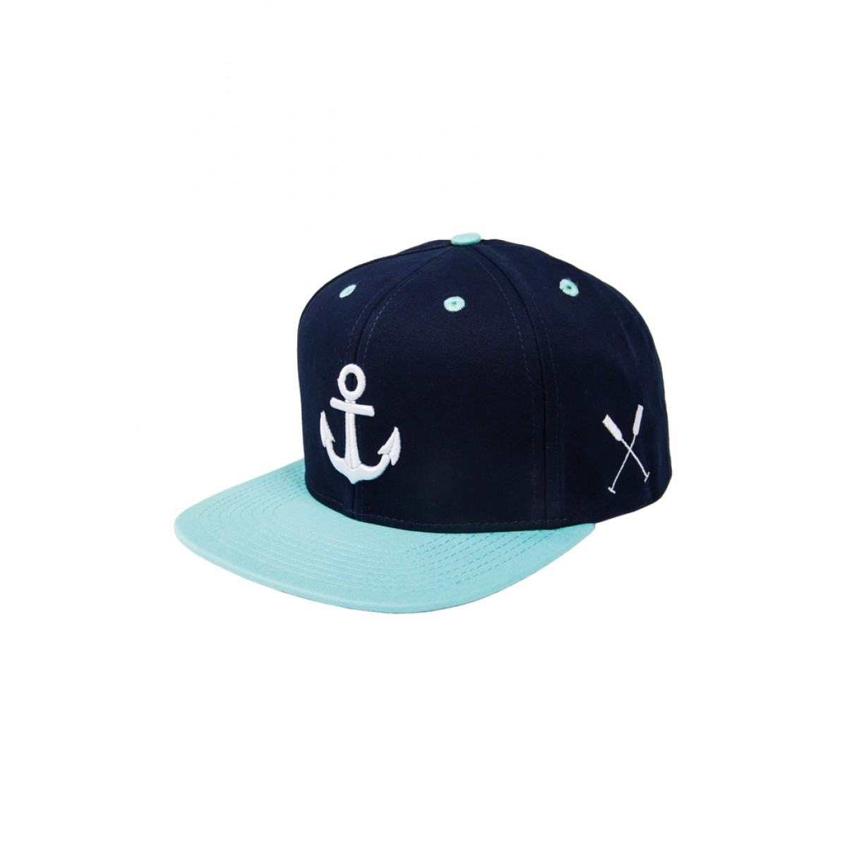 "HOME IS WHERE YOUR HEART IS. – Anker Snapback Cap ""Wonderland"" (NAVY BLUE/MINT)"