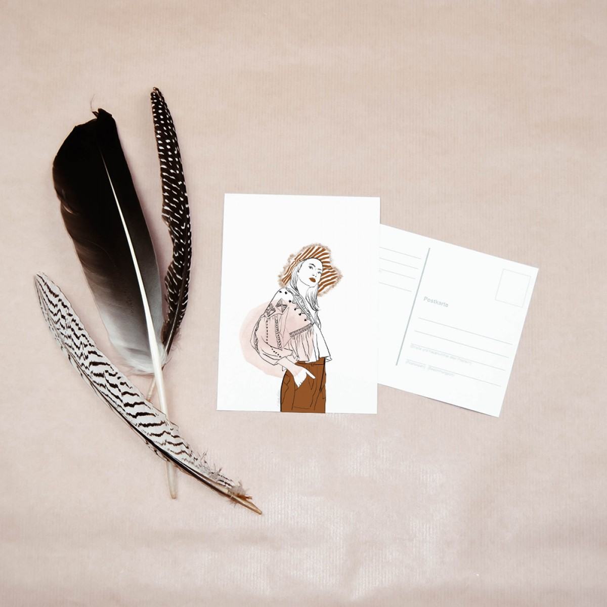 "nathys_illustration - Digitalprint + Postkarte ""boho autumn"""