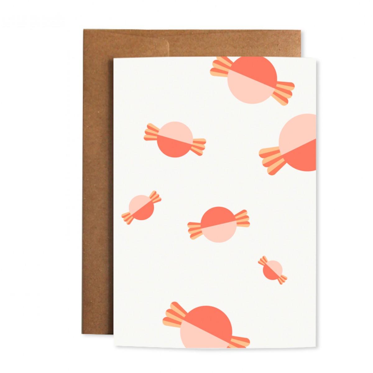 """Edith schmuckes Papier """"Bonbon - Geschenk Set"""" 2 Bögen Geschenkpapier mit 1 Grußkarte mit Briefumschlag"""