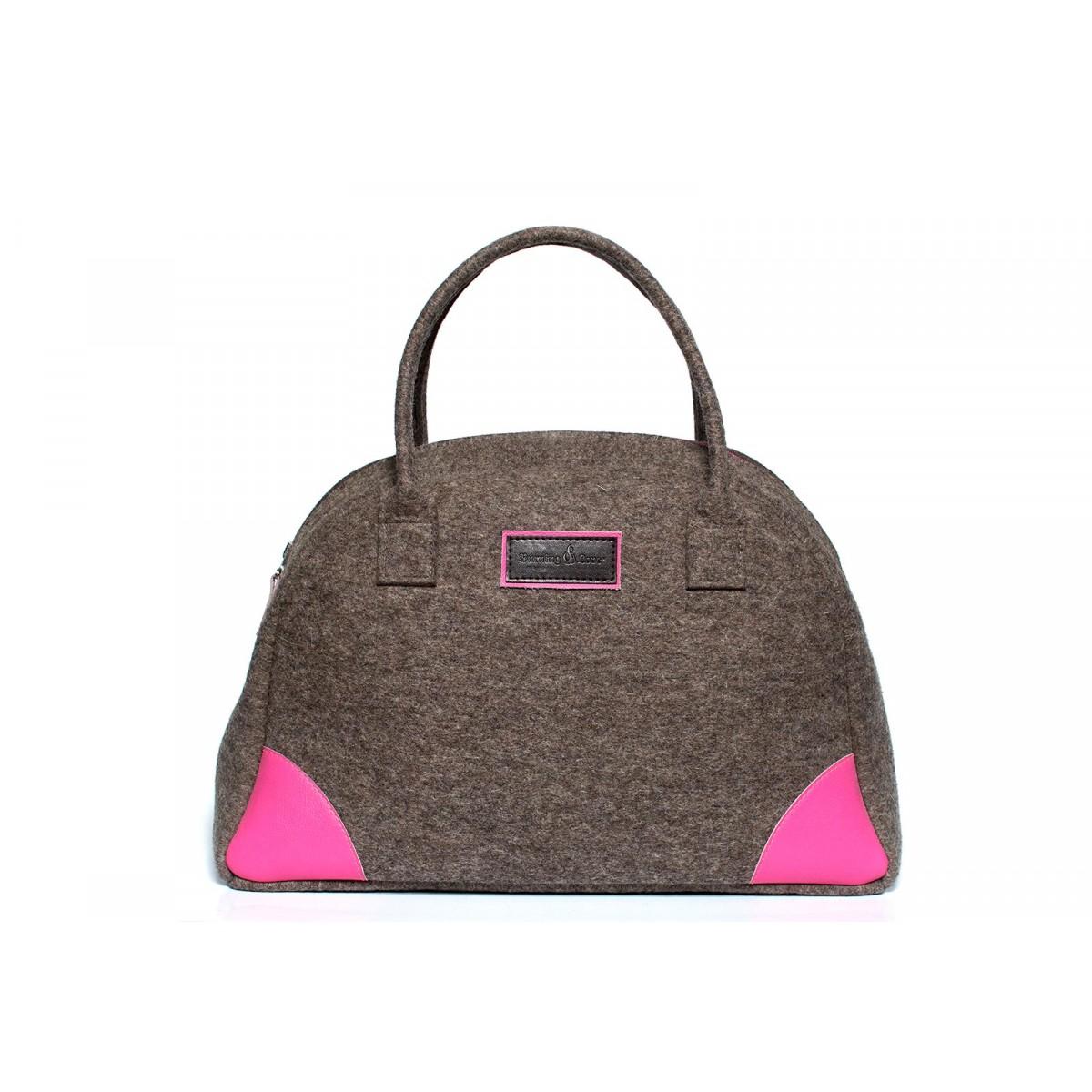 Bowling Bag - Handtasche (Filz und Leder) Gr. L - Burning Love Sonderpreis!