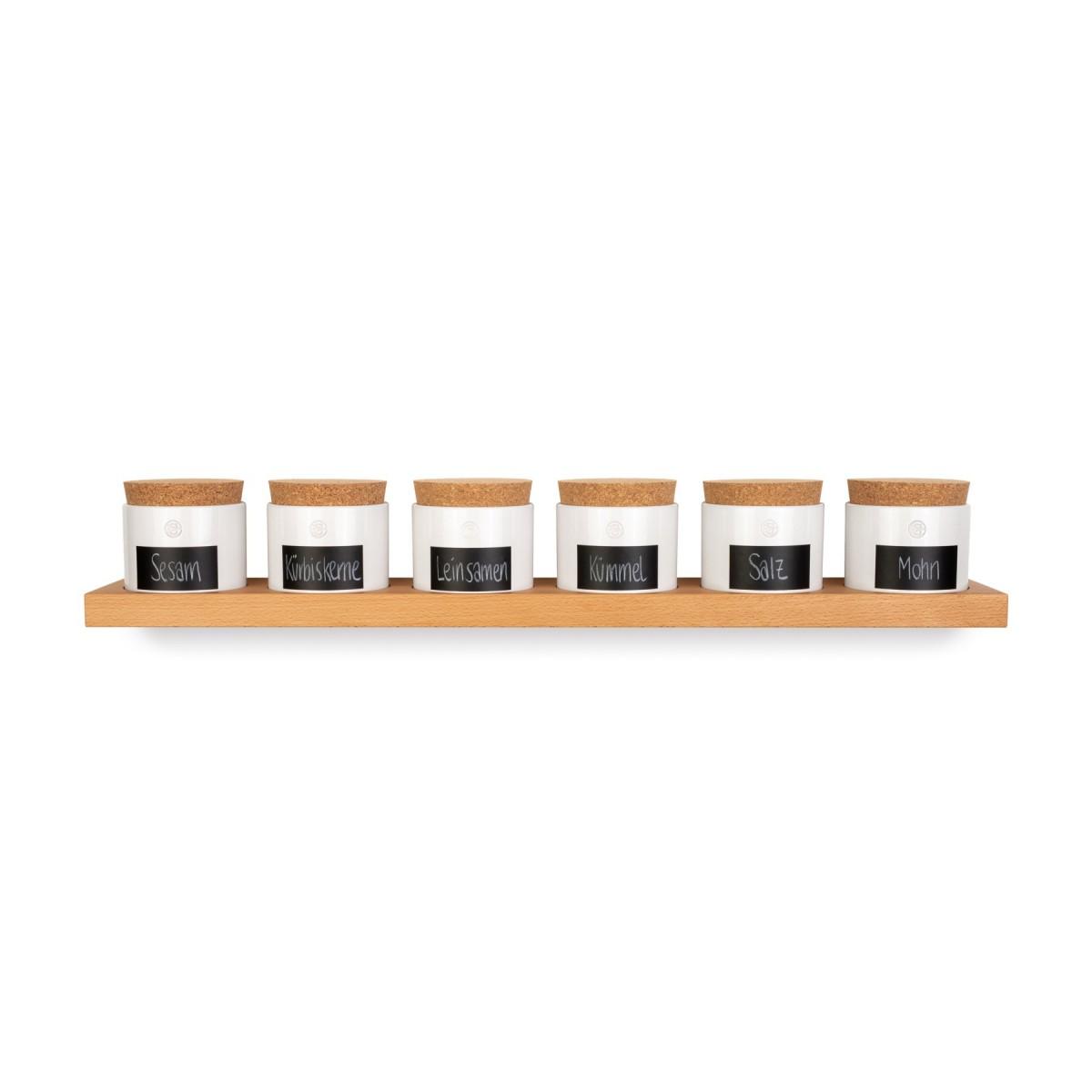 klotzaufklotz Vorratsdosenregal Buche 6er mit kleinen Dosen