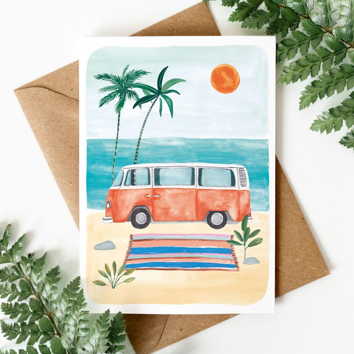 Paperlandscape | Faltkarte | VW Bulli Strand | Urlaubskarte | Ferien mit Camper