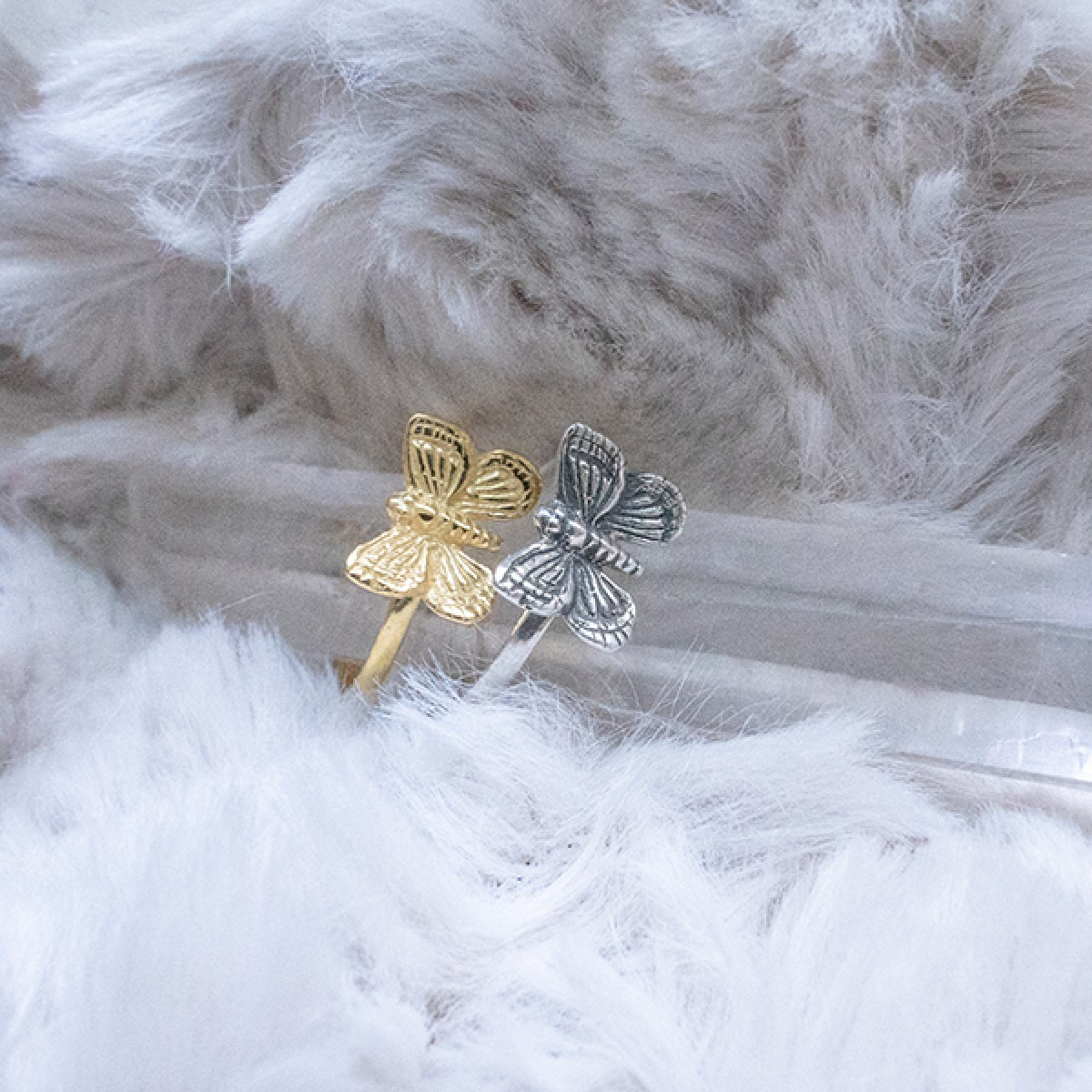 Fünf Schmetterling Ring Gold