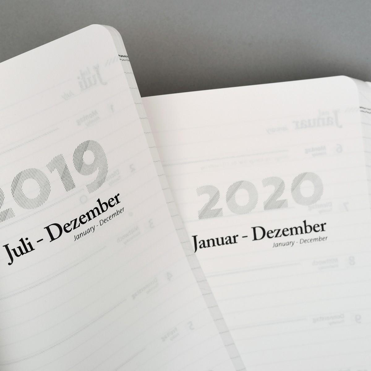 tyyp Kalender 19/2020, 18 Monate, Schwarz, DIN A5, Handmade