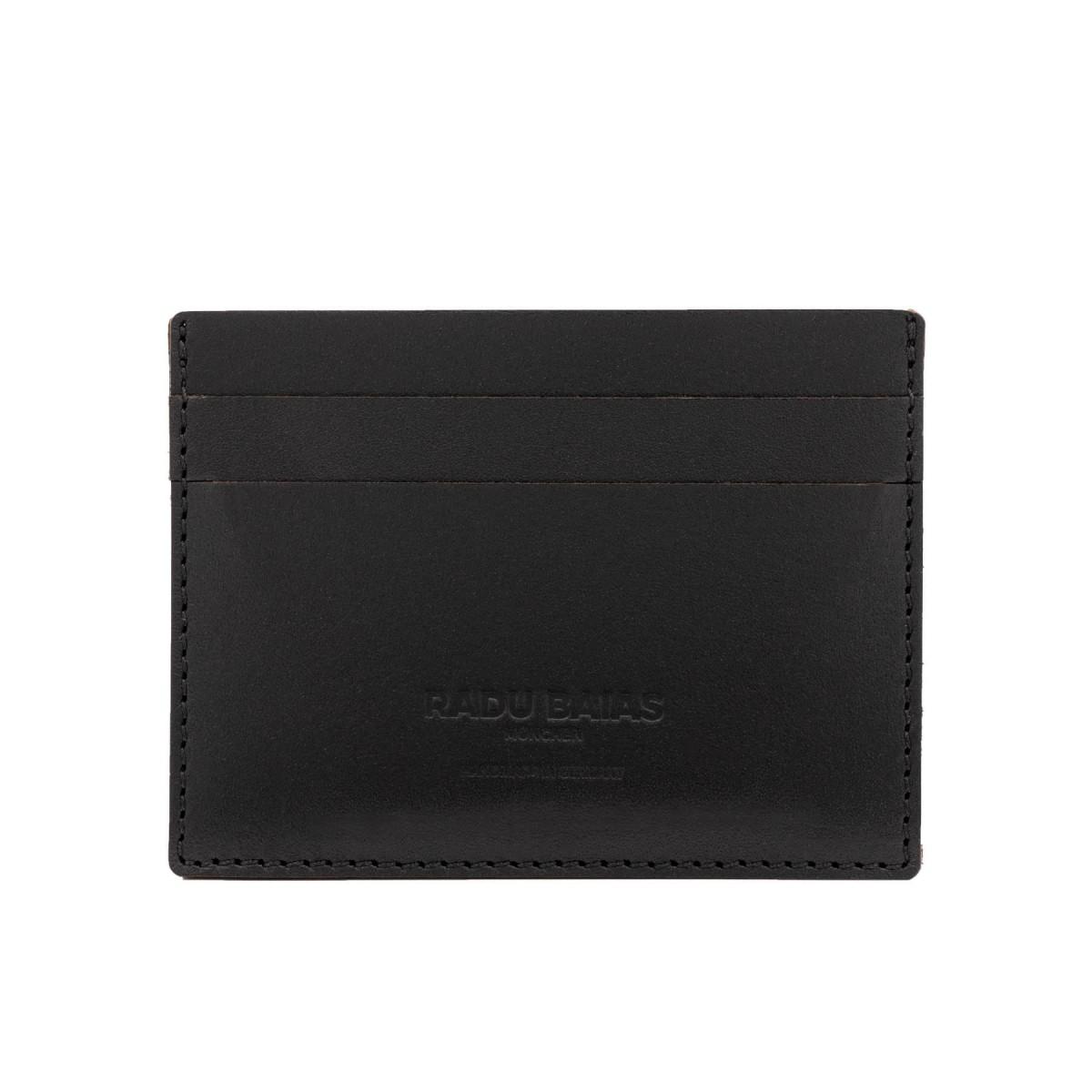 Cardholder Wallet Klein in schwarz - aus premium pflanzlich gegerbtem Leder