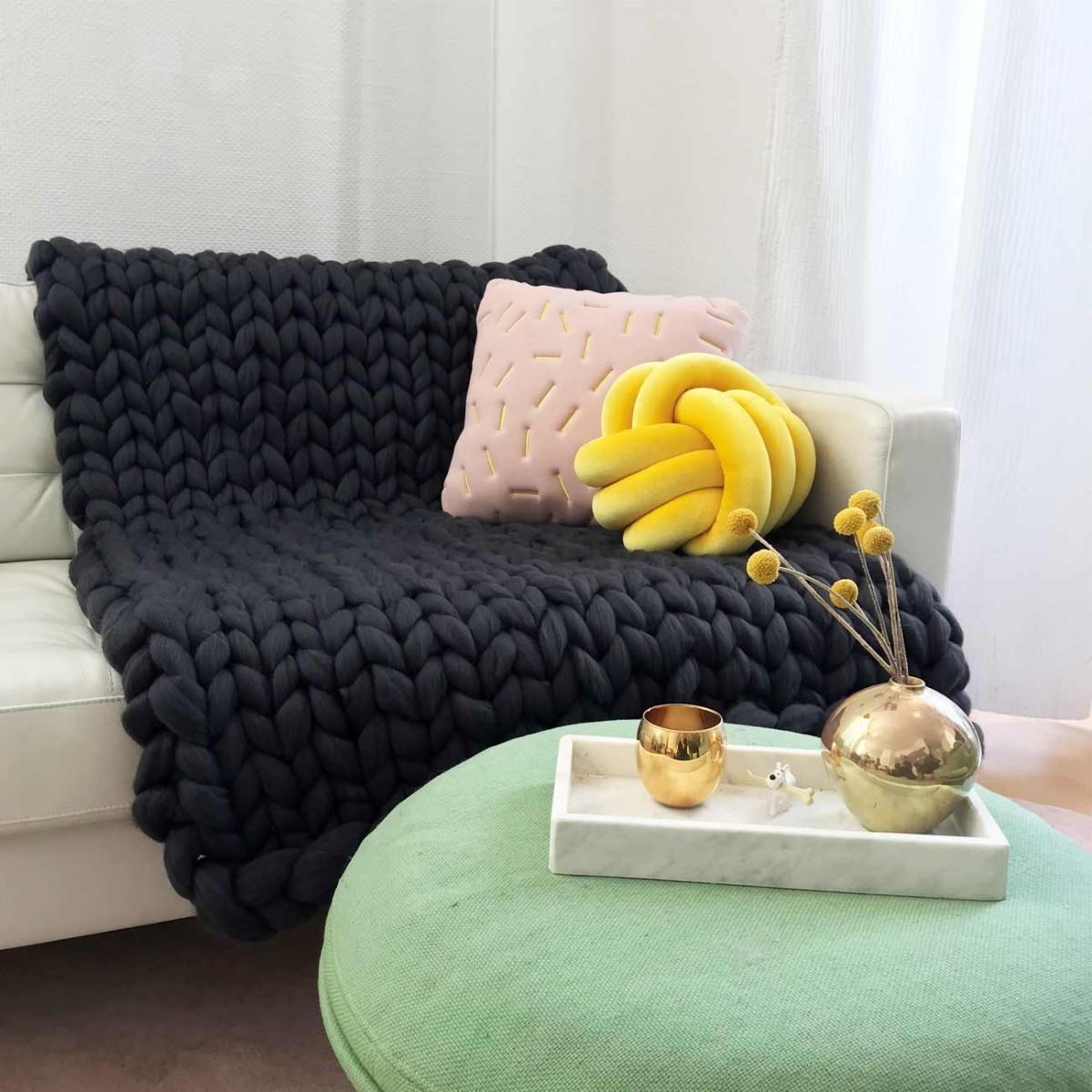 adorist. – Wolldecke Cosima Chunky Knit, anthrazit