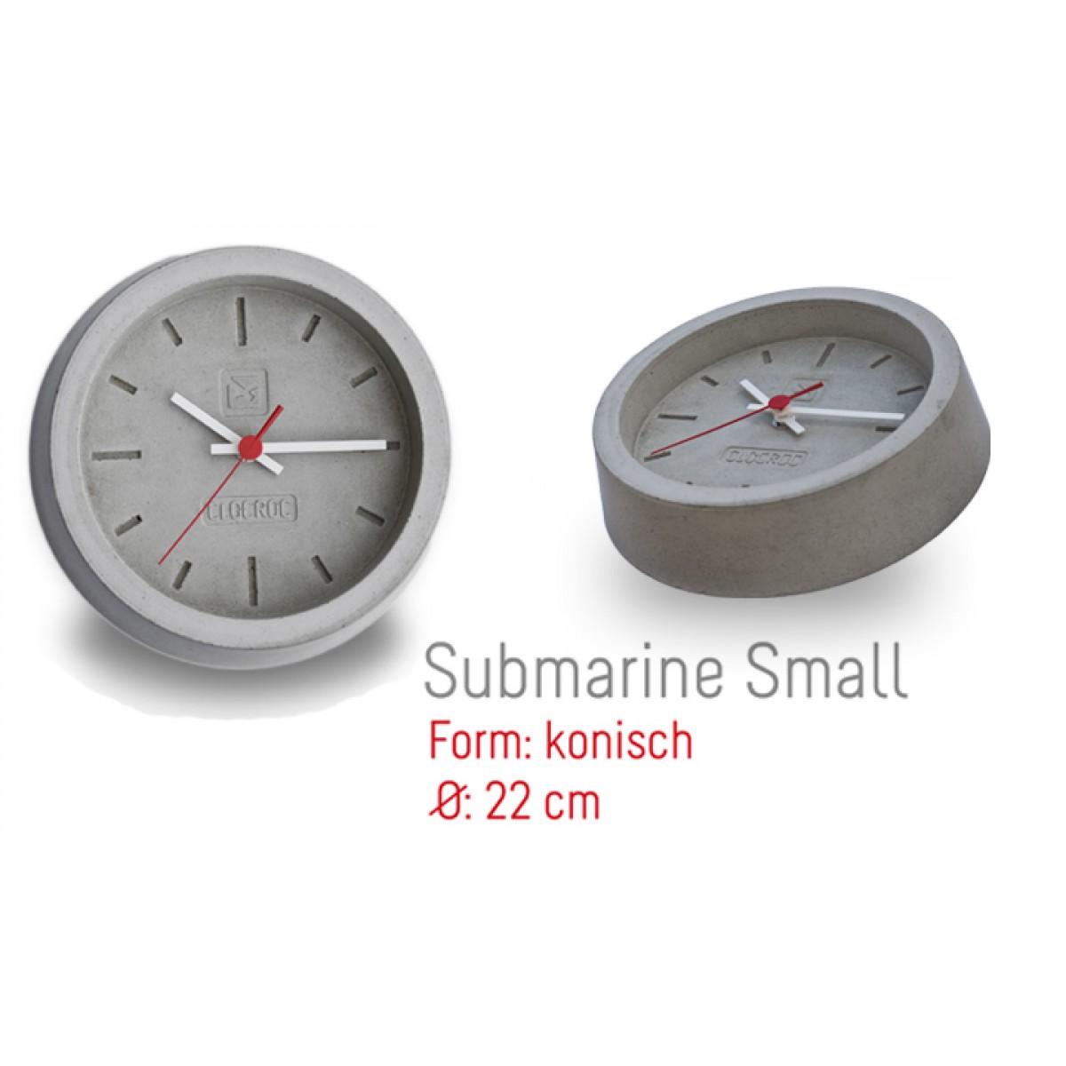 Ambientshop Clocroc Wanduhr aus Beton -  Submarine Small:
