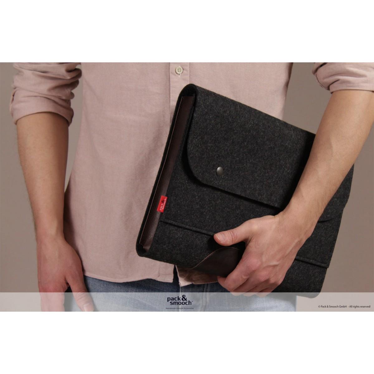 "Pack & Smooch -  iPad/MacBook Tasche ""Corriedale"" 100% Merino Wollfilz (anthrazit)"