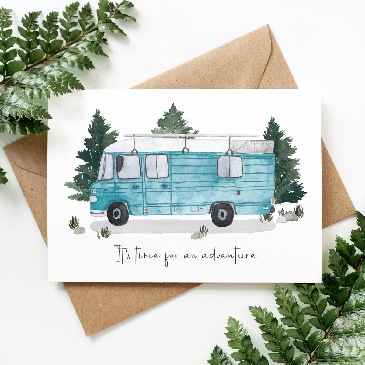 "Paperlandscape | Faltkarte ""It's time for an adventure van"" | Reisen | Düdo | verschiedene Farben"