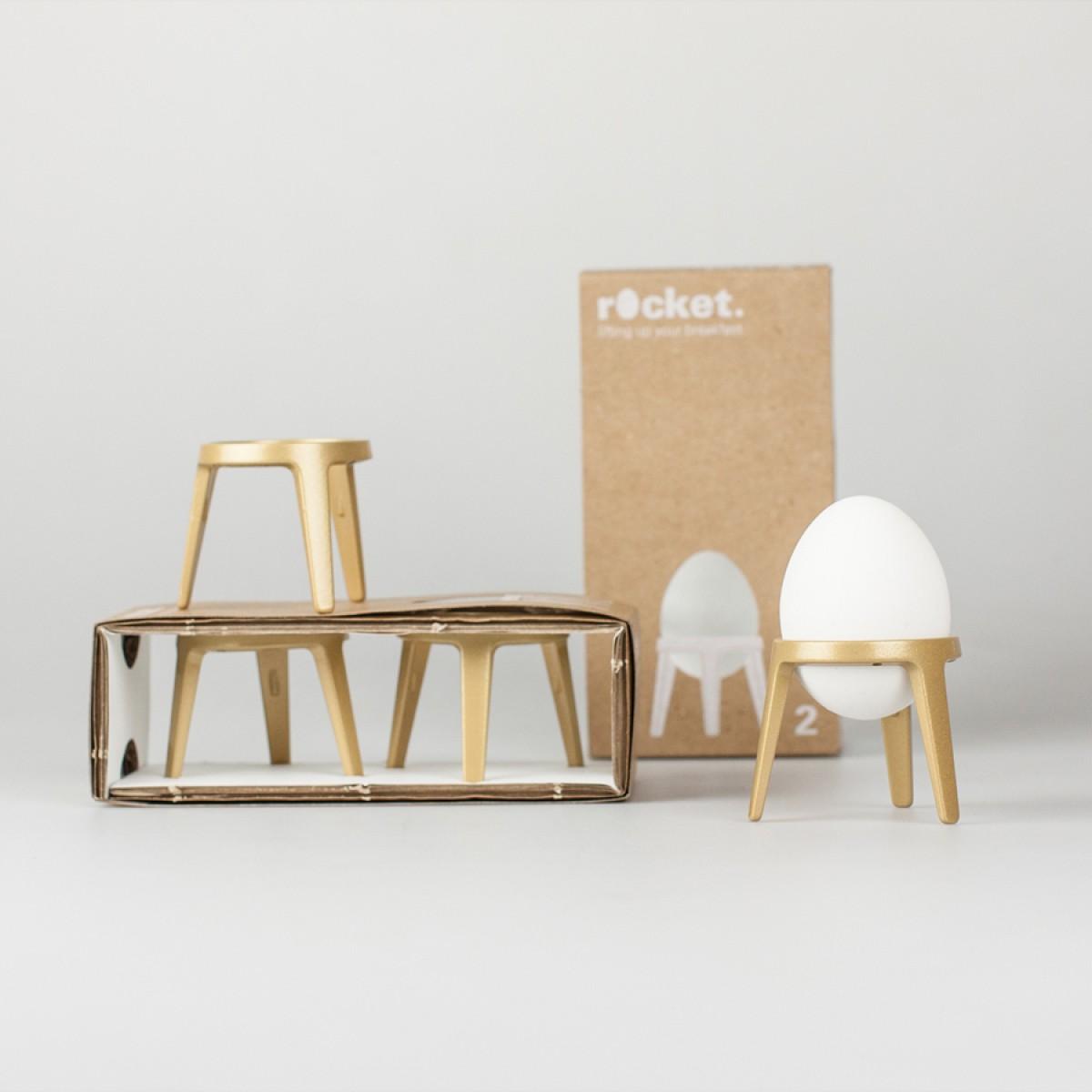 rocket - Design Eierbecher aus Metall - 2er Geschenkset (gold / schwarz / weiß)