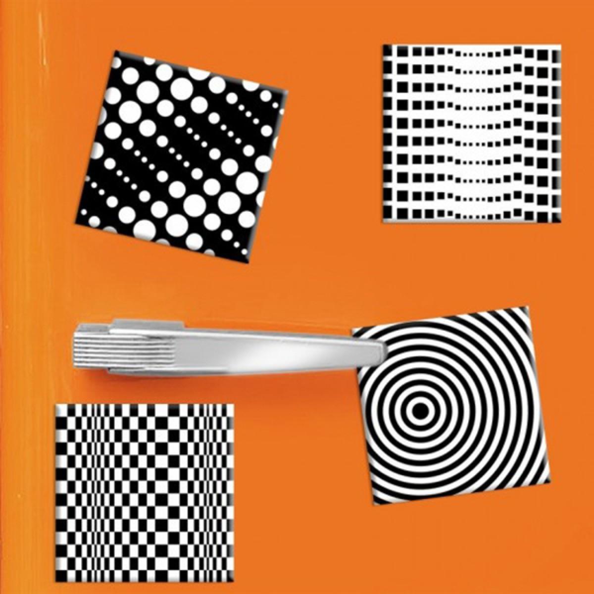 COGNOSCO 4er-Set Magnete Op Art - 5x5cm