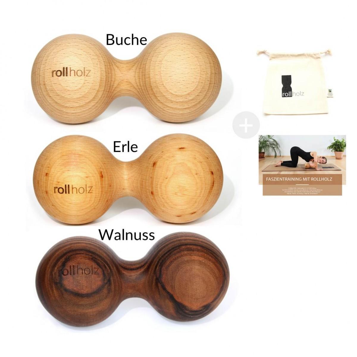 rollholz – Massagedoppelkugel aus Holz zur Regeneration & Schmerzvorbeugung