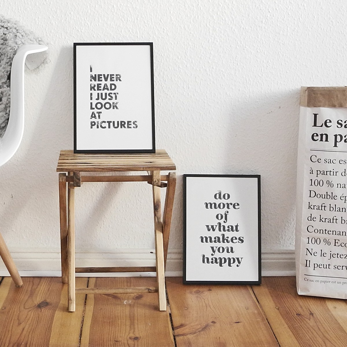 Linoldruck »do more of what makes you happy«, ungerahmt (DIN A4), Poster, Print, Typografie, Design