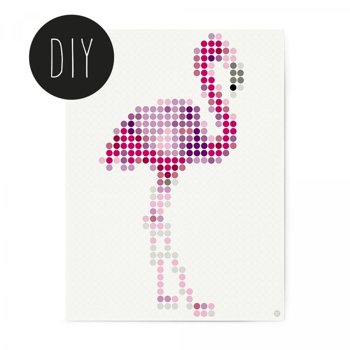 dot on art / flamingo – DIY-Kunstwerk zum Selberkleben / 30x40 cm