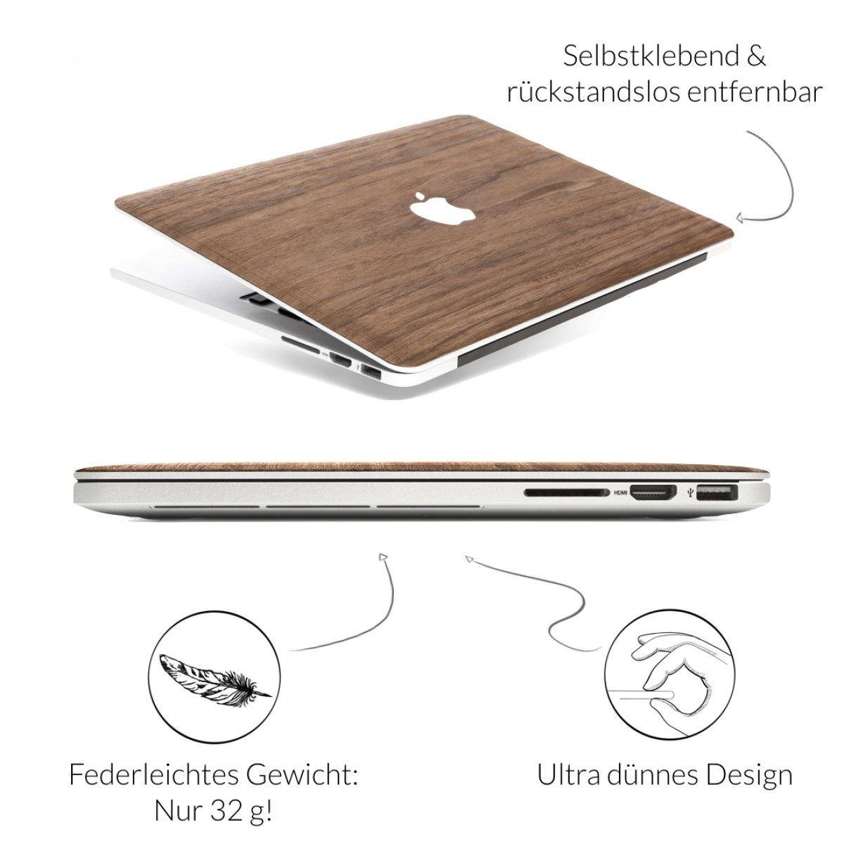 Woodcessories - EcoSkin - Design Apple Macbook Cover, Skin, Schutz für das Macbook mit Apfellogo aus FSC zert. Holz (Macbook 12, Walnuss)