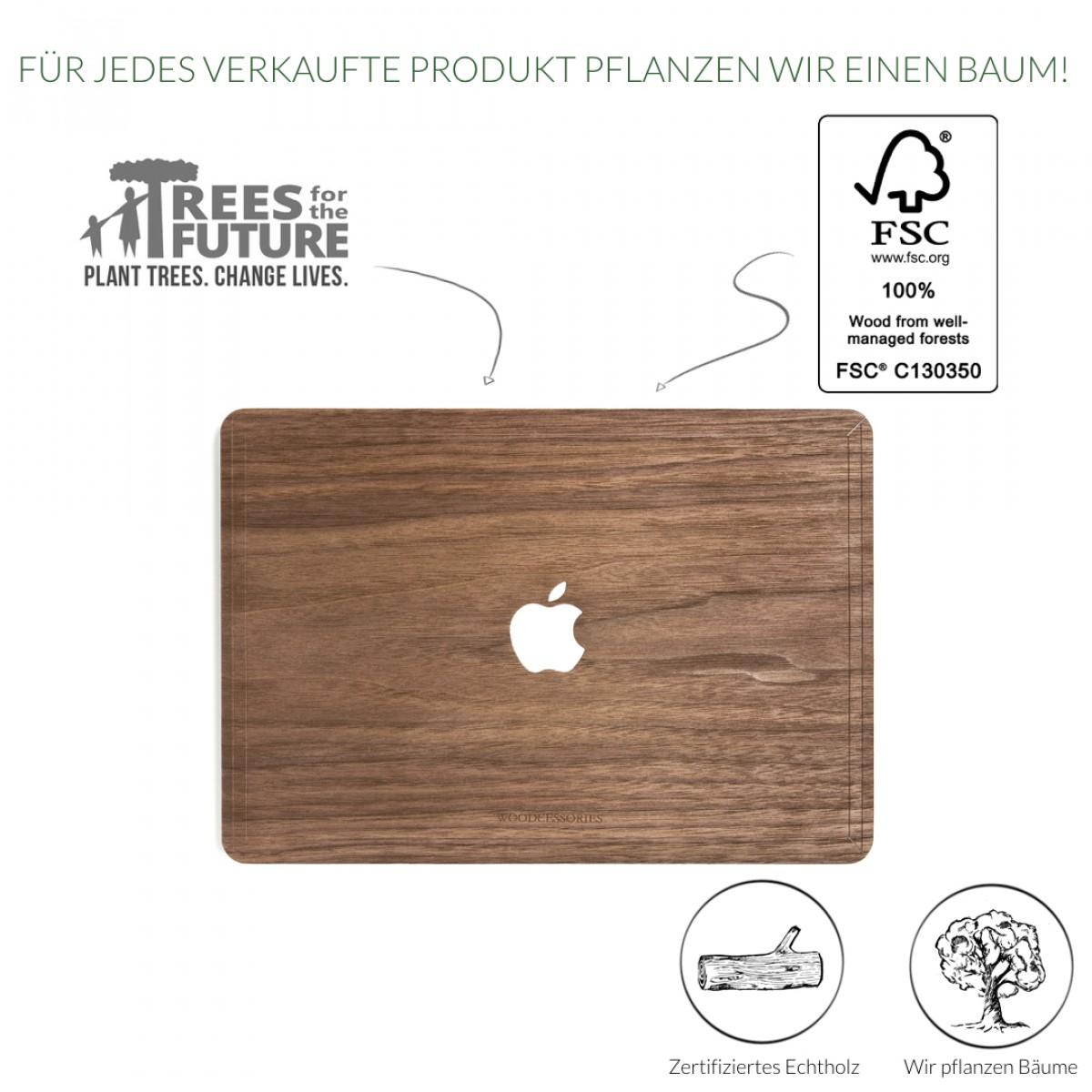 Woodcessories - EcoSkin - Design Apple Macbook Cover, Skin, Schutz für das Macbook mit Apfellogo aus FSC zert. Holz (Macbook 13 Pro Retina, Walnuss)