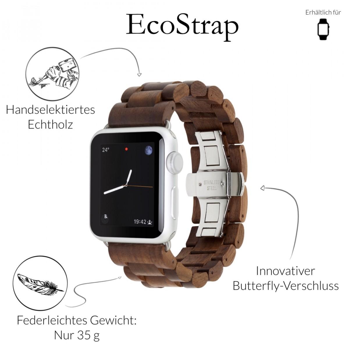 Woodcessories - EcoStrap - Premium Design Holzband, Strap, Armband, Uhrenarmband für die AppleWatch 1, 2 & 3 aus echtem Holz (Walnuss / silber, 38mm)