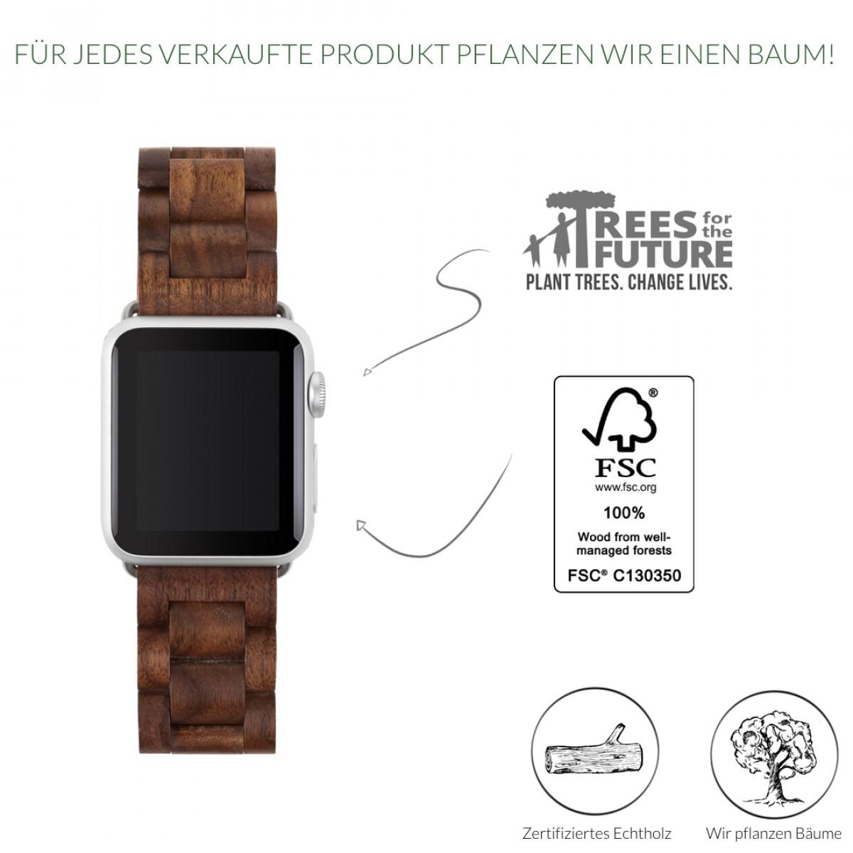 Woodcessories - EcoStrap - Premium Design Holzband, Strap, Armband, Uhrenarmband für die AppleWatch 1, 2 & 3 aus echtem Holz (Walnuss / silber, 42mm)